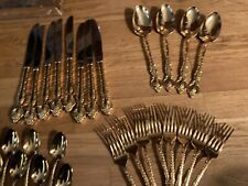 International DeepSilver San Marcos Gold Plated Inlaid Flatware Set Service 8