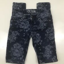 Delia's Olivia Style Floral Jeans Juniors Size 3 Skinny Stretch