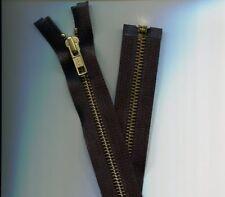 30 inch Black & Brass Metal #5 YKK Zipper Separating New!