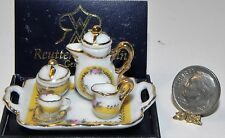 Dollhouse Miniature Tea Set French Rose with Tray  Reutter Porcelain Minis