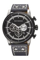 Ray Winton Men's WI0404 Multi-Function Black Dial Genuine Grey Leather Watch