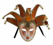 Mask from Venice Volto Jolly Orange and Golden 7 Spikes for Prom Costume 756 V25