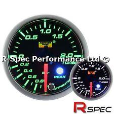 52mm Green / White Stepper Motor Peak Turbo Boost Gauge BAR - Adjustable Warning