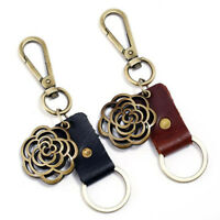 PU Leather Hollow Flower Keychain Key Chain Ring Keyring Gift LD