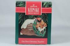 Hallmark '1990 Dated Our First Christmas Together' 2 Foxes Ornament New In Box