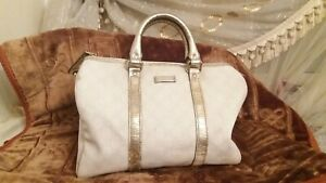 Vintage Gucci Boston Bag Speedy White & GG Authentic