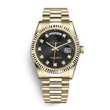 orologio in acciao inox color oro e nero e piccoli diamanti con box in omaggio