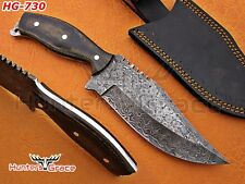 Damascus Custom Hand Made Full Tang Hunting Tracker With Micarta Handle
