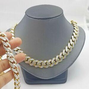 Real 10k Gold Monaco chain`14mm Cuban Link Royal Bracelet Set Diamond Cut