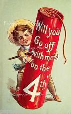 Vintage Postcard 4th of July Fabric Block Firecracker Will you go off with me?