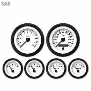 6 Gauge Set Speedo Tacho Oil Temp Fuel Volt Black/BLK DIY Kit LED 043-WC SAE LSX