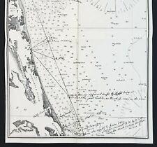 1879 Kitty Hawk Bay Map North Carolina Virginia Currituck Sound Cape Henry Rare