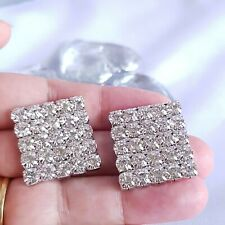 Large Square Stud Earrings Crystal Runway Trend '19 Rich Geometric Sparkle