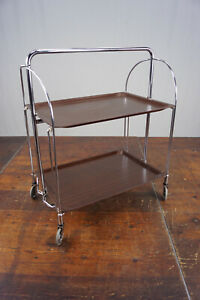 Dinett Serving Trolley Tea Trolley Table Side Table Walnut BAR Chrome 70er 25