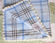 Carter's Blue White Brown Polyester Chenille Knit Plaid Baby Boy Blanket Euc