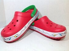 Crocs Mens Size 7 / Women's Size 9 Crocband Christmas Lights Red Clogs ZK-1041