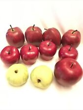 Lot Of 11 Vtg Artificial Red & Green Apple - Faux Fruit - Crafts - Home Decor