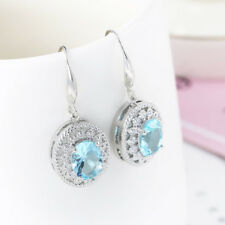 European Hot Design Titanic Ocean Blue Topaz Gems Silver Dangle Hook Earrings