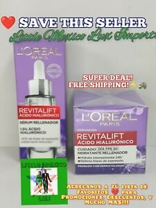 Loreal Revitalift Caja Morada Crema Antiarrugas Ácido Hialurónico DiaFPS20+Serum