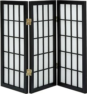 Oriental Furniture 2 ft. Tall Desktop Window Pane Shoji Screen - Black - 3
