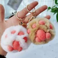 Cat Paw Key Ring Pendant Car Keyring Pompom Key Chains Female Bag Pendant SALE
