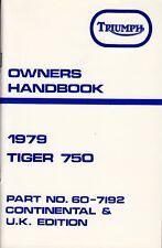 1979 Triumph Tiger 750, T140V, OIF, OEM, OWNERS Handbook, USA & UK, NOS
