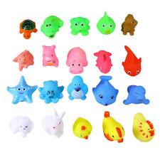 20pcs Mini Rubber Animals Squeeze Toys Squirters Kids Bathtub Toys W/Spoon Net