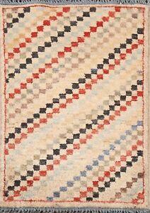 Vintage Gabbeh Checkered Oriental Area Rug Hand-knotted Wool Kitchen Carpet 2x3