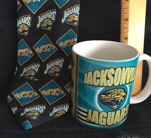 NFL Jacksonville Jaguars Silk Neck Tie and Coffee Cup Mug Logo Ralph Marlin VTG