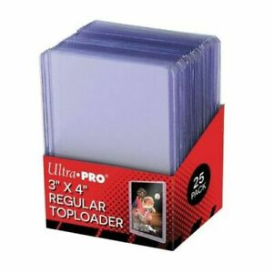"YUGIOH POKEMON MAGIC Ultra Pro 3""x4"" Regular Toploader Pack (25 pz) Sealed"