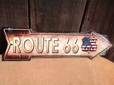 """USA Flag Route 66 This Way To Arrow Sign Directional Novelty Metal 17"""" x 5"""""""