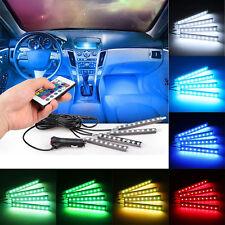 4x 9 LED RGB Car Interior Atmosphere Light Footwell Cigarette Lighter Decor Lamp