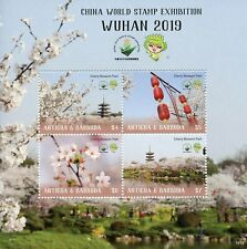 Antigua & Barbuda 2019 MNH Wuhan China World Stamps Exhibition 4v M/S Flowers