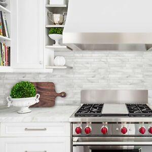 Smart Tiles Milano Massa Marble Peel and Stick Tile Backsplash Gray White DIY