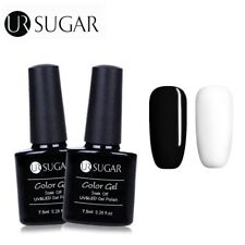 2 Bottles/set Nail Art UV Gel Polish Soak Off White+Black Gel Varnish UR Sugar