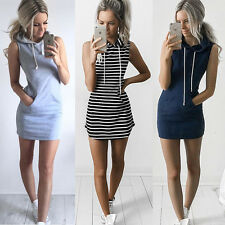 Womens Drawstring Hooded Sleeveless Bodycon Dress Ladies Pocket Sport Mini Dress