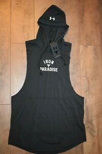 Under Armour Men's Project Rock Sleeveless Hoodie 5215 Size Large (Black) NWT