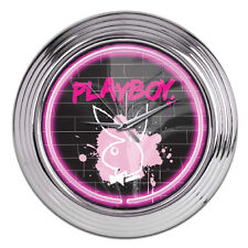 PLAYBOY BUNNY Glass NEON CLOCK - Bar Kitchen Costume retro wall