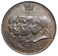 1897 GREAT BRITAIN QUEEN VICTORIA DIAMOND JUBILEE FOUR GENERATIONS UNC. MEDAL