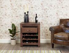 Mayan Dark Wood Wine Rack With 1 Drawer Lamp Table Solid Walnut