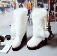 Winter Women Girl Warm Fur Snow Boot Leather Block High Heels Shoes Casual Ths01