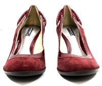Sperry Top Sider Womens Shoes Wood Wedge Slip Rope Suede Leather Burgundy Size 8