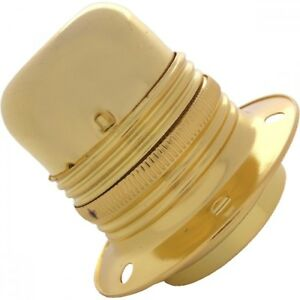 ES 27 Light Bulb Lamp holder 10mm entry in Polished Brass c/w Shade Ring(A42)