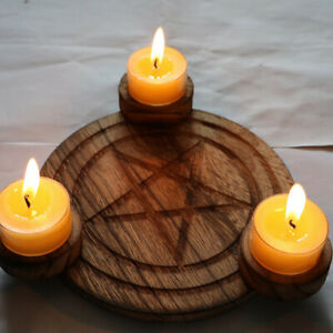 Astrology wood Candlestick table Pentacle altar plate Divination Accessorie MO
