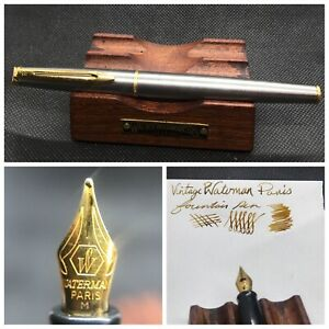 Vintage Waterman Fountain Pen Steel with Gold trim made in France