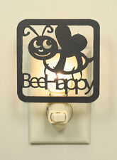 BEE HAPPY Bumblebee rustic tin night light w/ bulb