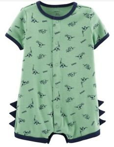 Carters Baby Boy Dinosaur Snap Up Romper Shortall NWT 6M HTF RARE