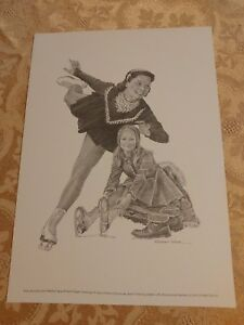 Carol Heiss Print Robert Riger Drawing Vintage Frameable Print Olympic Skating