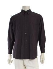 HERMES shirt H Pattern Serie button cotton brown light blue