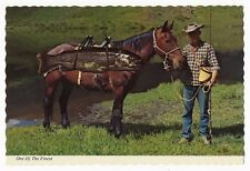 Horse Packing Out a Rainbow Trout - Fishing Exaggeration Postcard